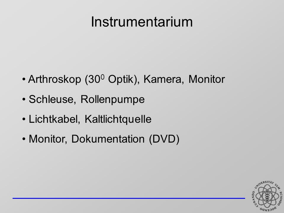 Instrumentarium Arthroskop (300 Optik), Kamera, Monitor