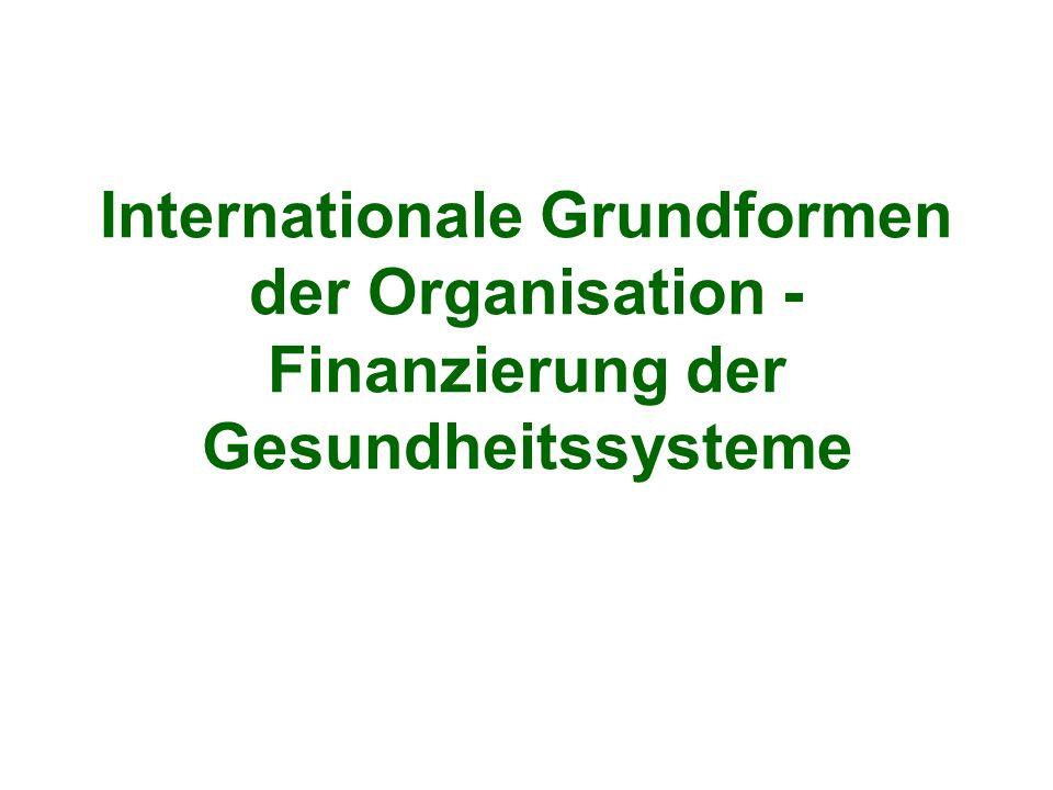 Internationale Grundformen der Organisation - Finanzierung der Gesundheitssysteme