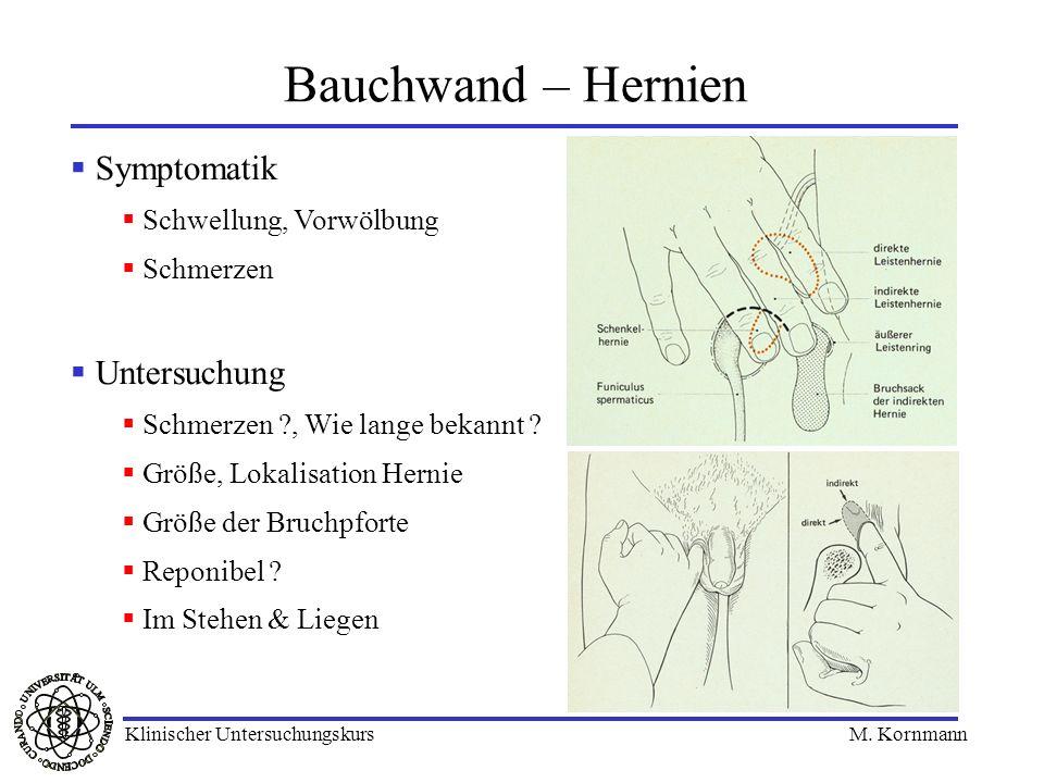 Bauchwand – Hernien Symptomatik Untersuchung Schwellung, Vorwölbung