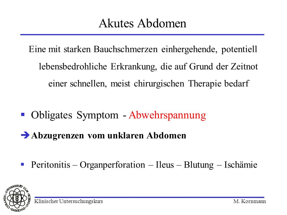 Akutes Abdomen Obligates Symptom - Abwehrspannung
