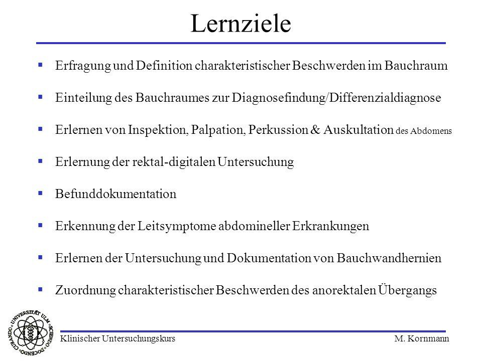 Lernziele Erfragung und Definition charakteristischer Beschwerden im Bauchraum. Einteilung des Bauchraumes zur Diagnosefindung/Differenzialdiagnose.