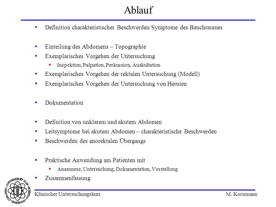 Ablauf Definition charakteristischer Beschwerden/Symptome des Bauchraumes. Einteilung des Abdomens – Topographie.