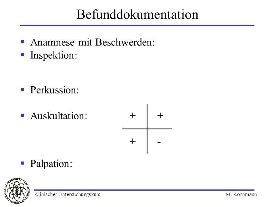 Befunddokumentation Anamnese mit Beschwerden: Inspektion: Perkussion:
