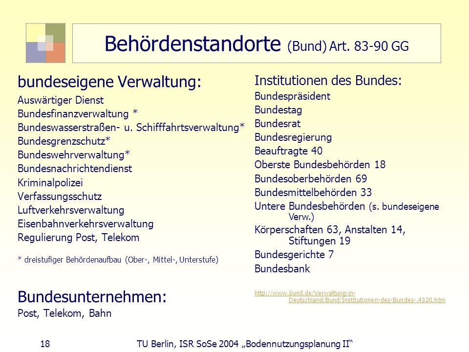 Behördenstandorte (Bund) Art. 83-90 GG