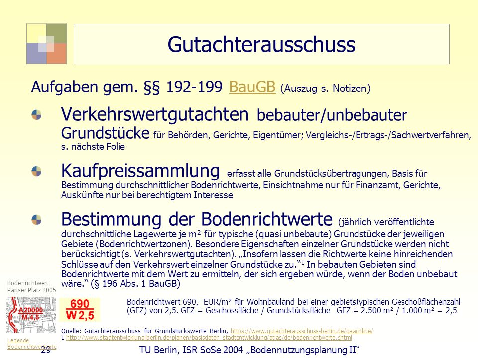 Gutachterausschuss Aufgaben gem. §§ 192-199 BauGB (Auszug s. Notizen)