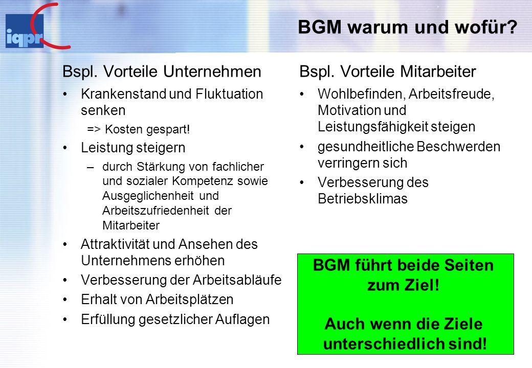 BGM warum und wofür Bspl. Vorteile Unternehmen