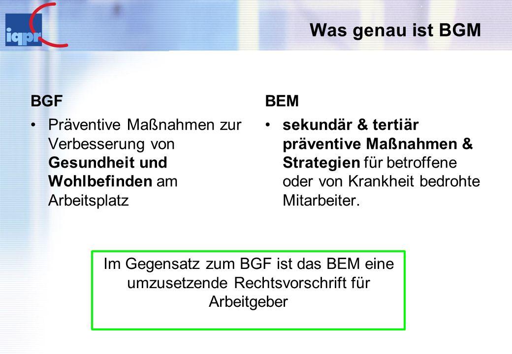 Was genau ist BGM BGF BEM