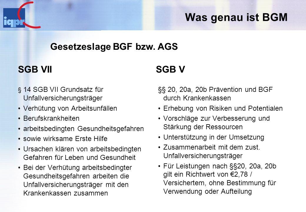 Gesetzeslage BGF bzw. AGS
