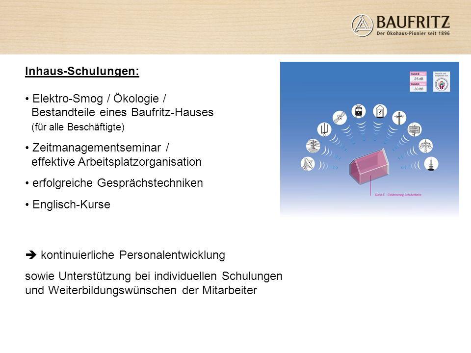 Inhaus-Schulungen: Elektro-Smog / Ökologie / Bestandteile eines Baufritz-Hauses (für alle Beschäftigte)
