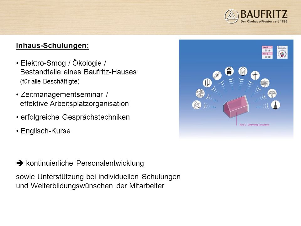 Inhaus-Schulungen:Elektro-Smog / Ökologie / Bestandteile eines Baufritz-Hauses (für alle Beschäftigte)