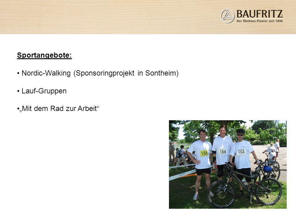 """Sportangebote: Nordic-Walking (Sponsoringprojekt in Sontheim) Lauf-Gruppen """"Mit dem Rad zur Arbeit"""