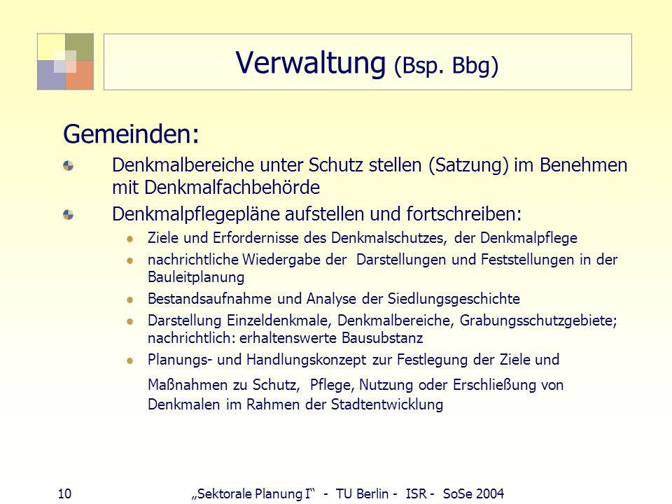 Verwaltung (Bsp. Bbg) Gemeinden: