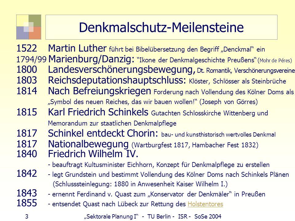 Denkmalschutz-Meilensteine