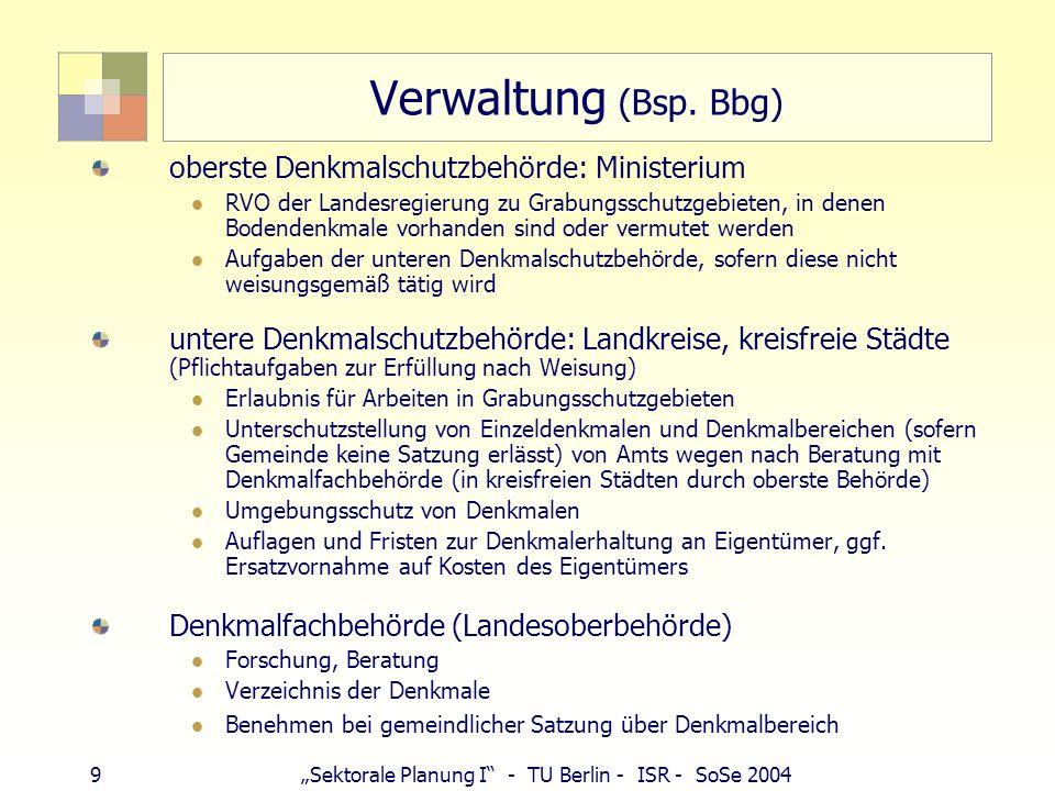 Verwaltung (Bsp. Bbg) oberste Denkmalschutzbehörde: Ministerium