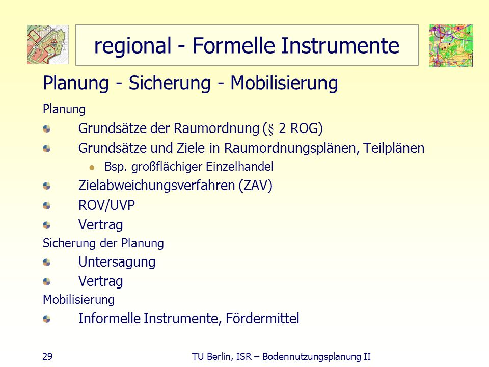 regional - Formelle Instrumente