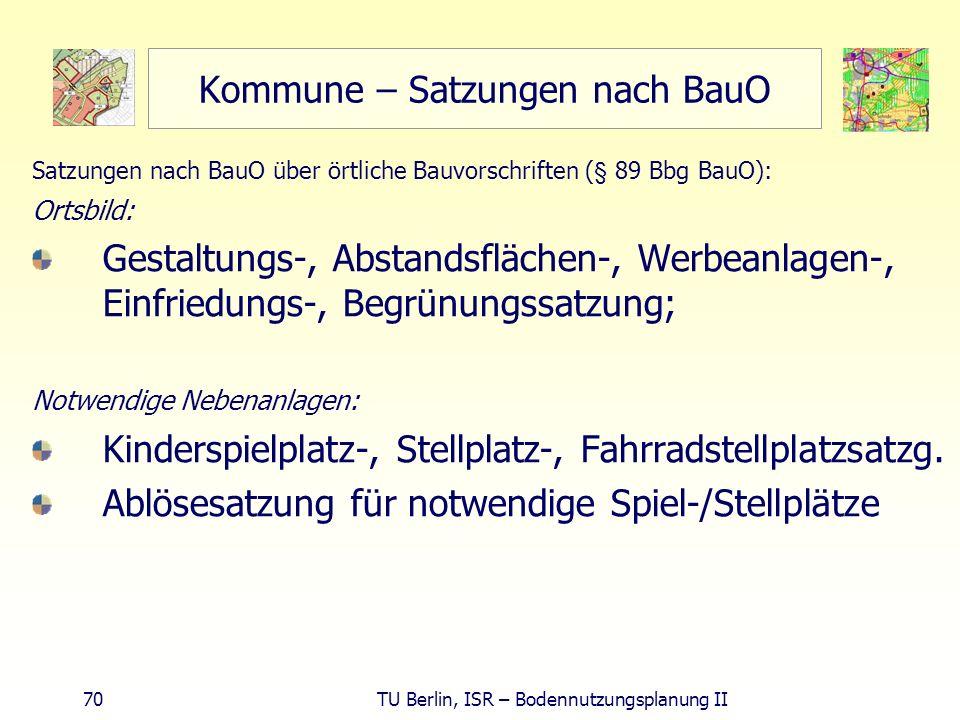 Kommune – Satzungen nach BauO