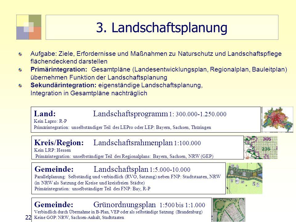 3. Landschaftsplanung Land: Landschaftsprogramm 1: 300.000-1.250.000