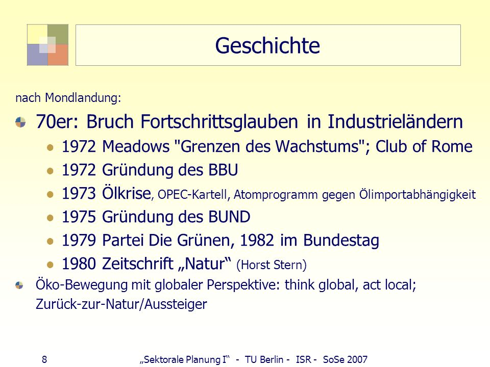 Geschichte 70er: Bruch Fortschrittsglauben in Industrieländern