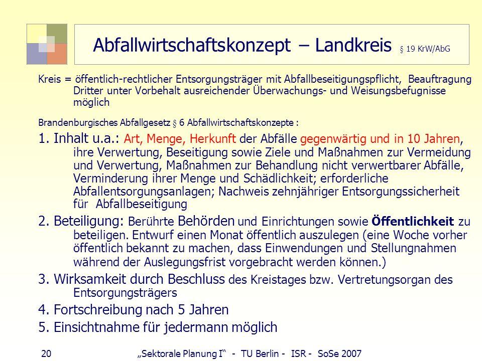 Abfallwirtschaftskonzept – Landkreis § 19 KrW/AbG