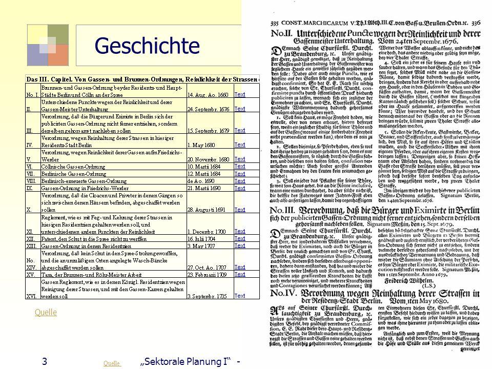 "Geschichte 3 ""Sektorale Planung I - TU Berlin - ISR - SoSe 2007"