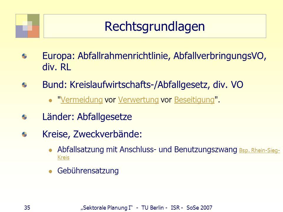 Rechtsgrundlagen Europa: Abfallrahmenrichtlinie, AbfallverbringungsVO, div. RL. Bund: Kreislaufwirtschafts-/Abfallgesetz, div. VO.