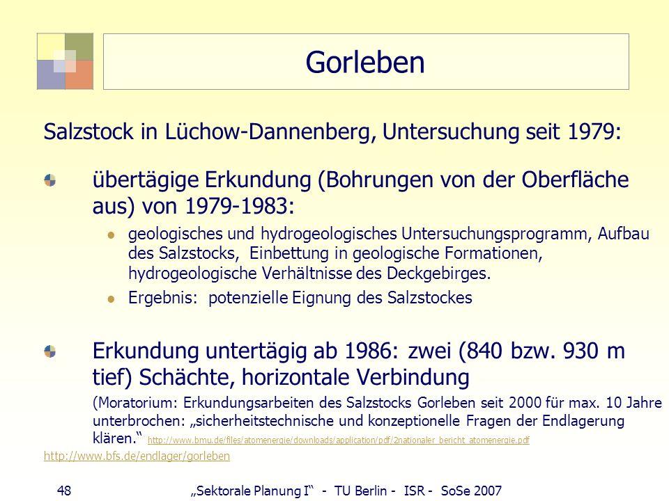 Gorleben Salzstock in Lüchow-Dannenberg, Untersuchung seit 1979: