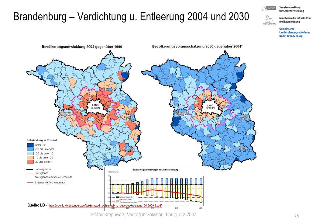 Brandenburg – Verdichtung u. Entleerung 2004 und 2030