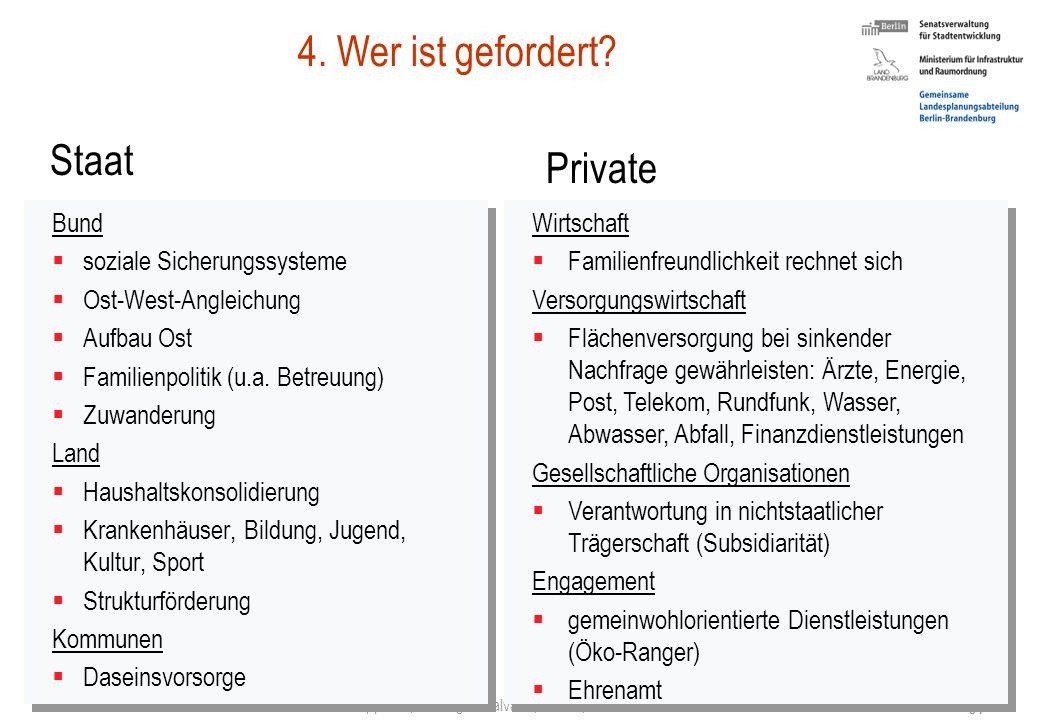 4. Wer ist gefordert Staat Private Bund soziale Sicherungssysteme