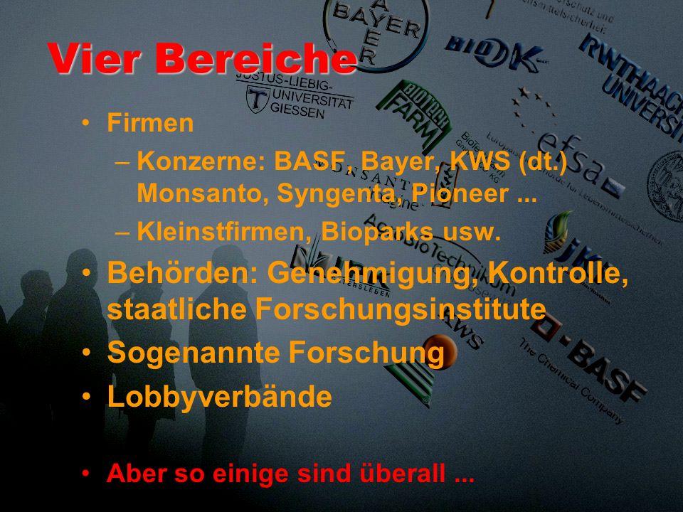 Vier BereicheFirmen. Konzerne: BASF, Bayer, KWS (dt.) Monsanto, Syngenta, Pioneer ... Kleinstfirmen, Bioparks usw.