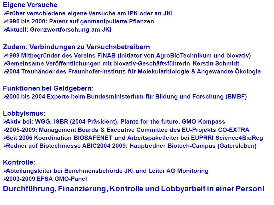 Eigene Versuche Früher verschiedene eigene Versuche am IPK oder an JKI. 1996 bis 2000: Patent auf genmanipulierte Pflanzen.