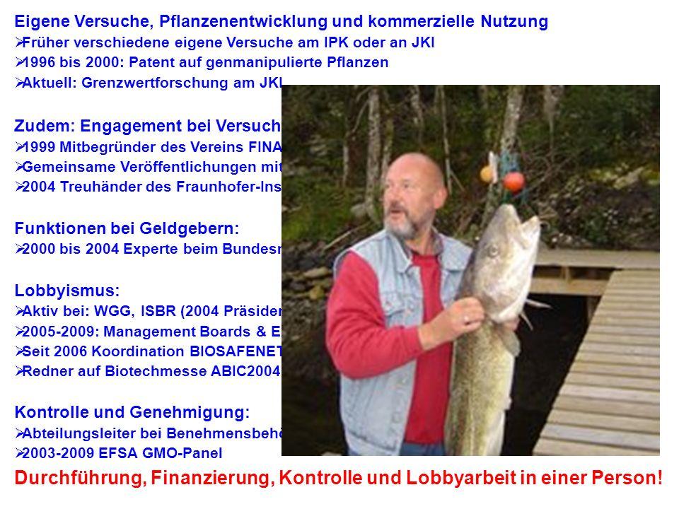 Joachim Schiemann Eigene Versuche, Pflanzenentwicklung und kommerzielle Nutzung. Früher verschiedene eigene Versuche am IPK oder an JKI.