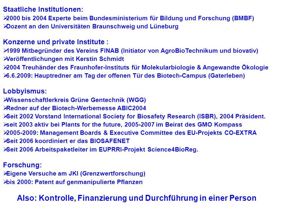 Joachim Schiemann Staatliche Institutionen: 2000 bis 2004 Experte beim Bundesministerium für Bildung und Forschung (BMBF)