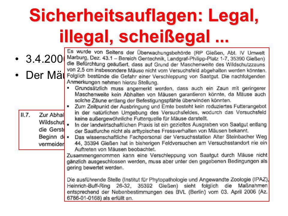 Sicherheitsauflagen: Legal, illegal, scheißegal ...
