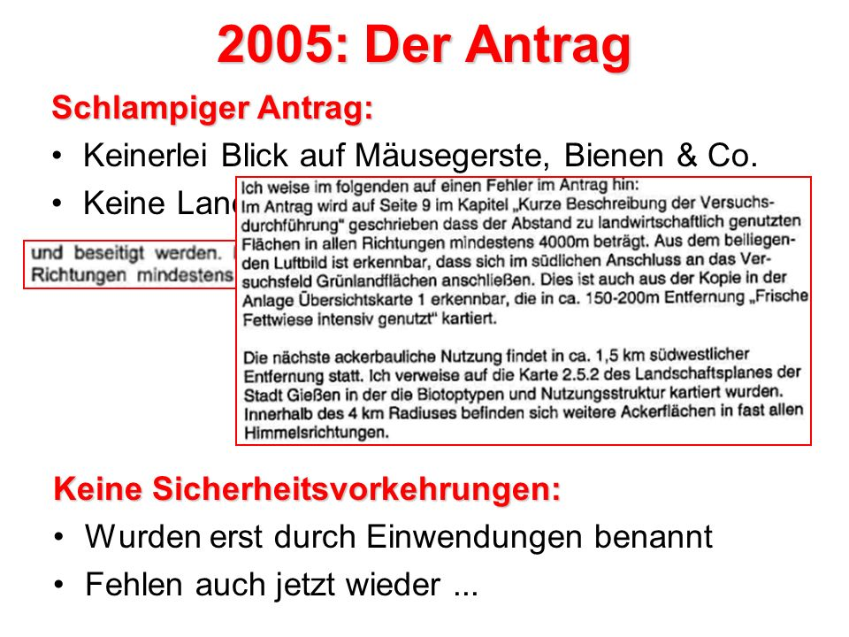 2005: Der Antrag Schlampiger Antrag: