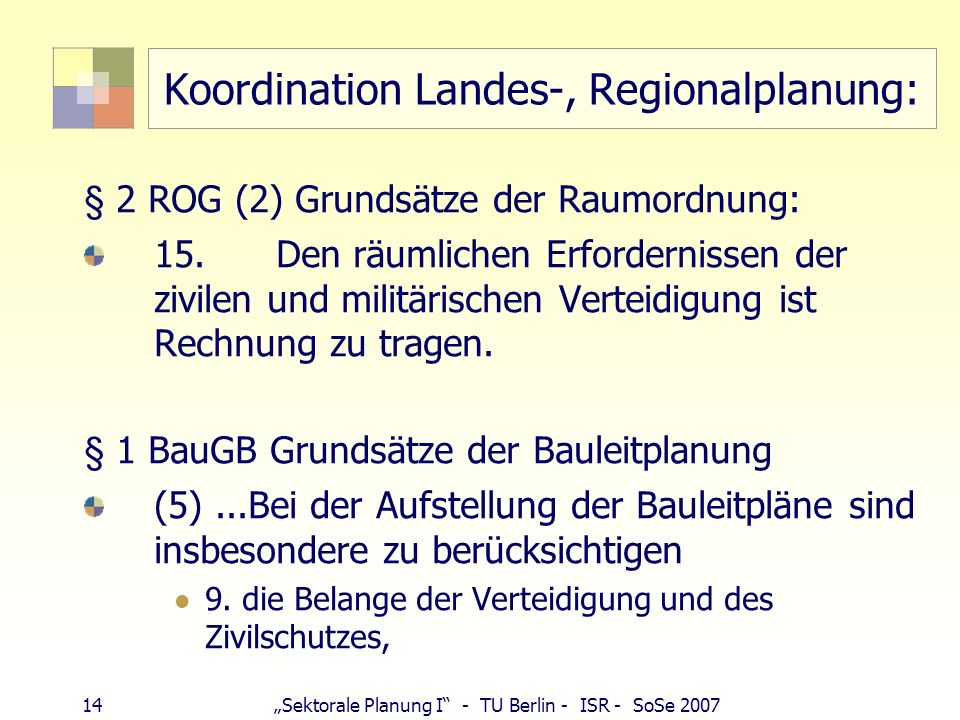 Koordination Landes-, Regionalplanung: