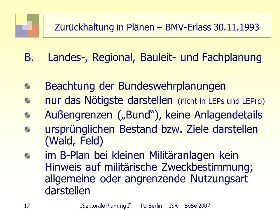 Zurückhaltung in Plänen – BMV-Erlass 30.11.1993