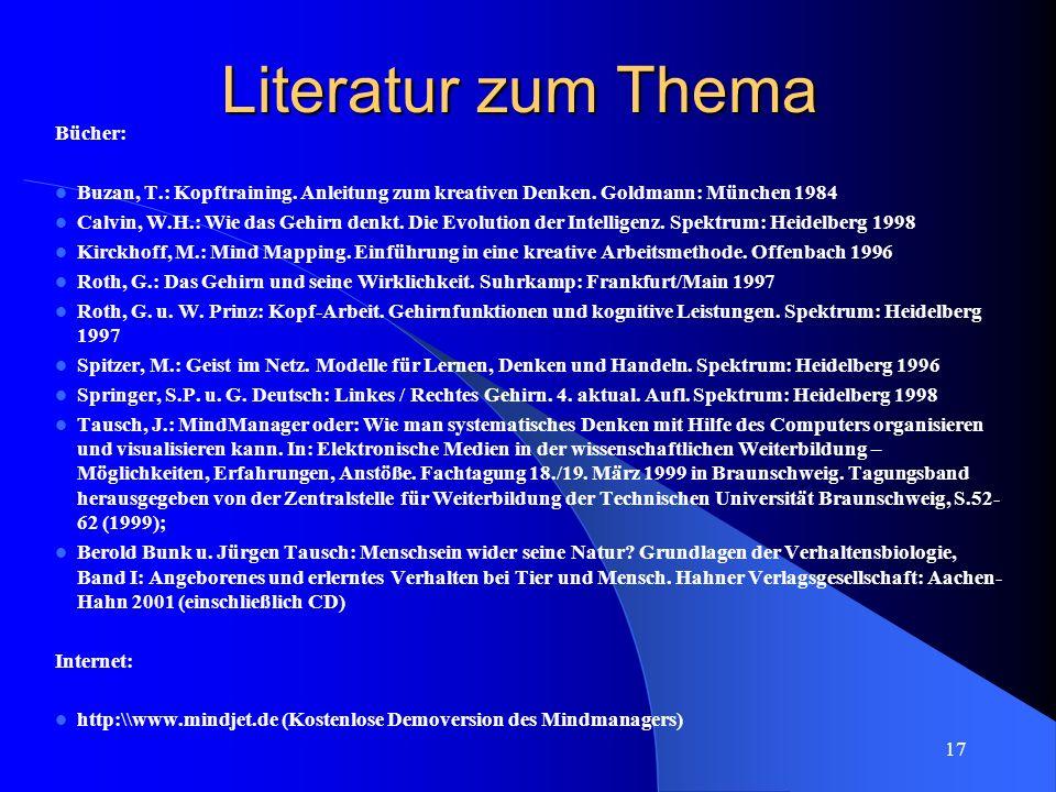 Literatur zum Thema Bücher: