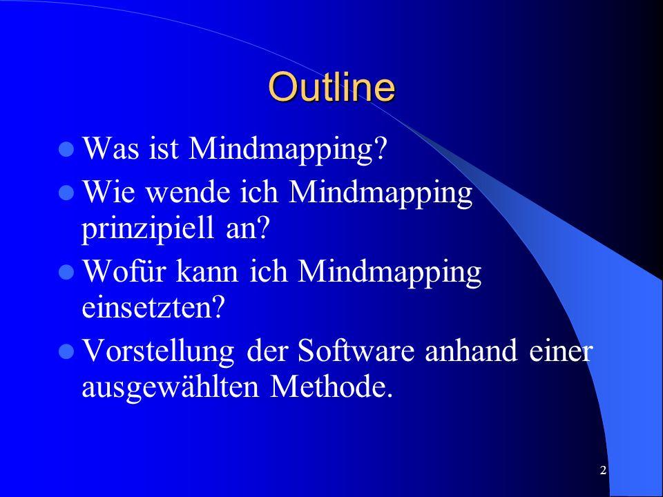 Outline Was ist Mindmapping Wie wende ich Mindmapping prinzipiell an