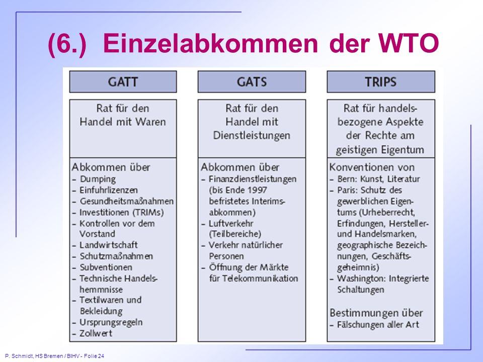 (6.) Einzelabkommen der WTO