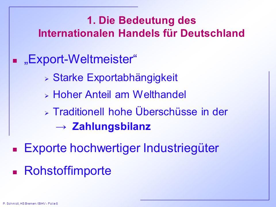 1. Die Bedeutung des Internationalen Handels für Deutschland