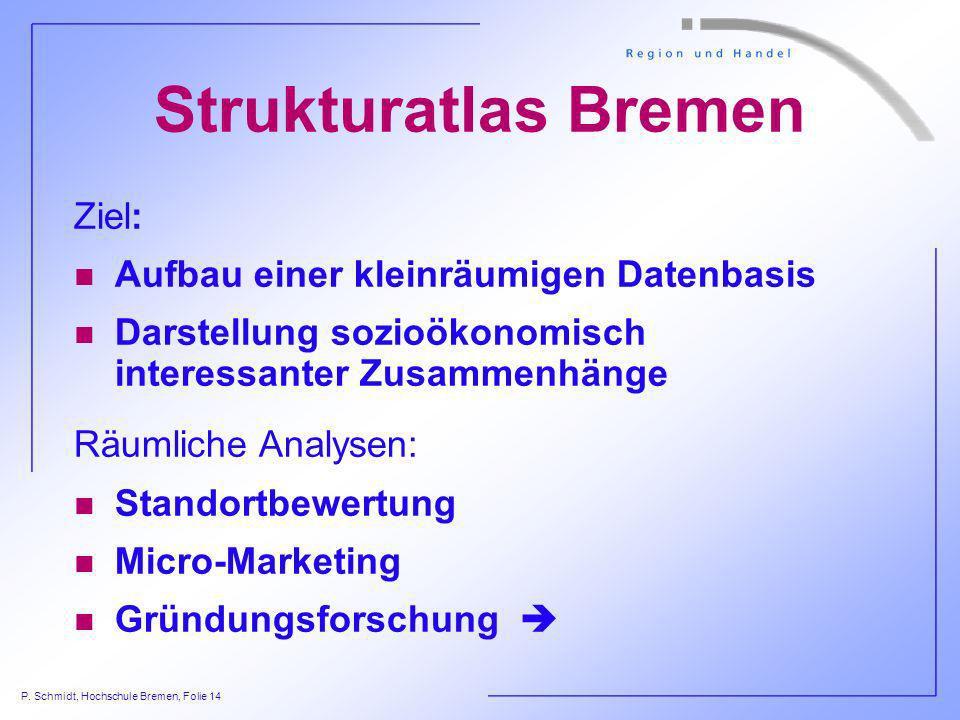 Strukturatlas Bremen Ziel: Aufbau einer kleinräumigen Datenbasis