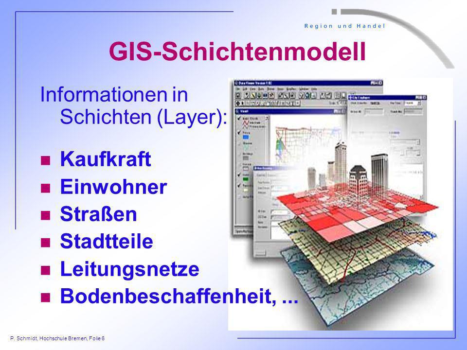 GIS-Schichtenmodell Informationen in Schichten (Layer): Kaufkraft