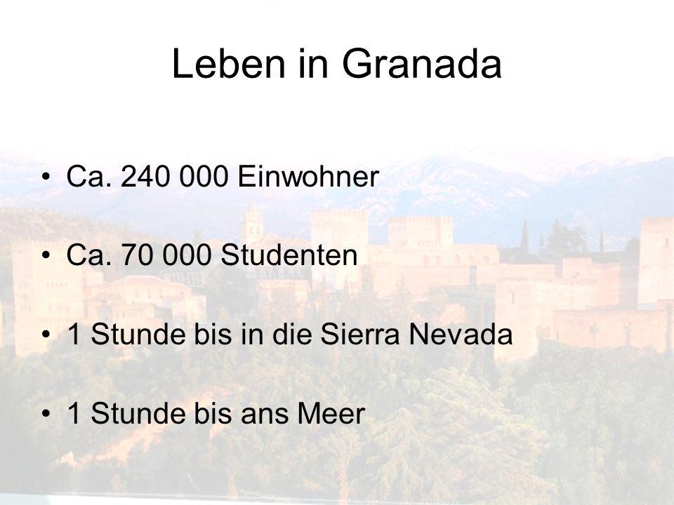 Leben in Granada Ca. 240 000 Einwohner Ca. 70 000 Studenten