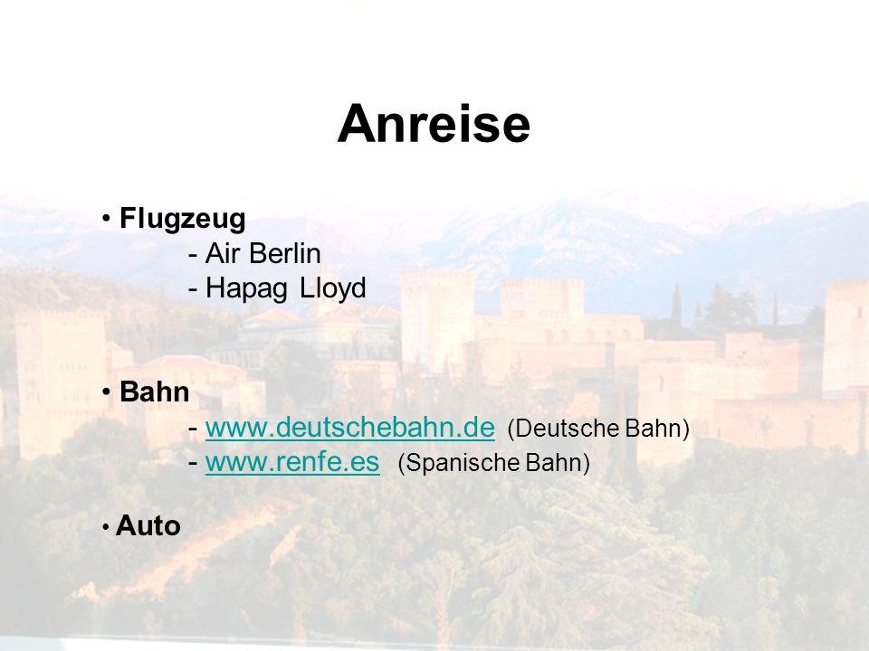 Anreise Flugzeug - Air Berlin - Hapag Lloyd Bahn