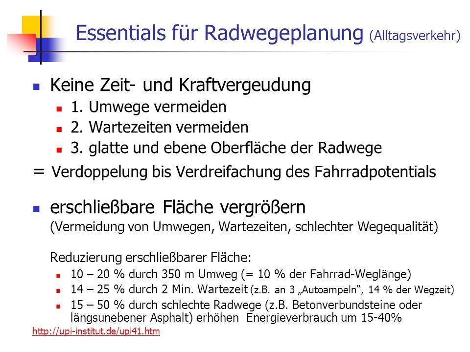 Essentials für Radwegeplanung (Alltagsverkehr)