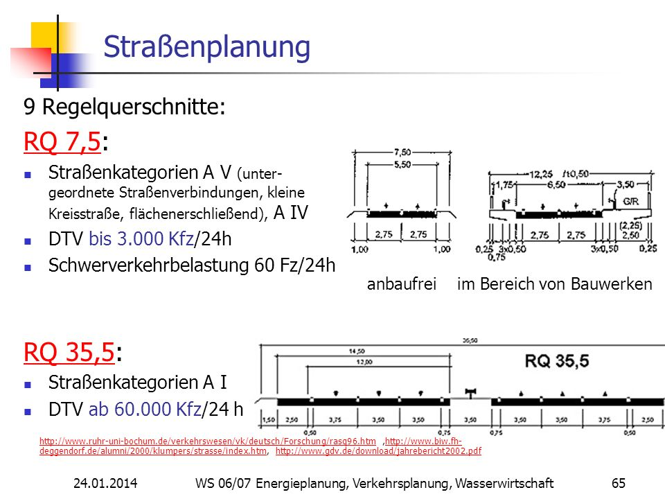 Straßenplanung RQ 7,5: RQ 35,5: 9 Regelquerschnitte: