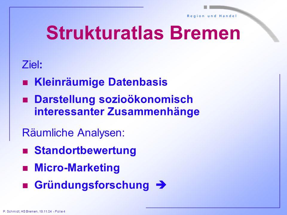 Strukturatlas Bremen Ziel: Kleinräumige Datenbasis