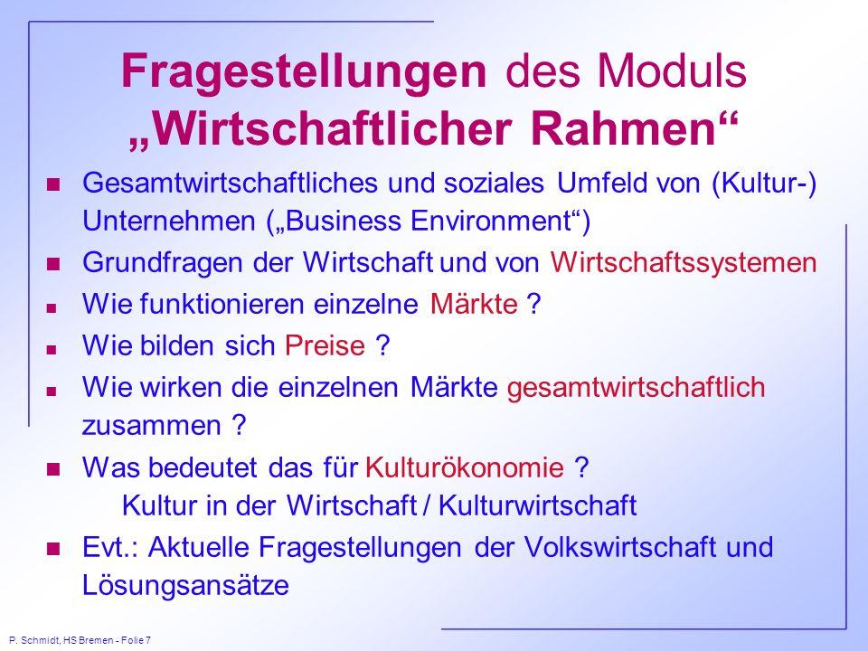 """Fragestellungen des Moduls """"Wirtschaftlicher Rahmen"""