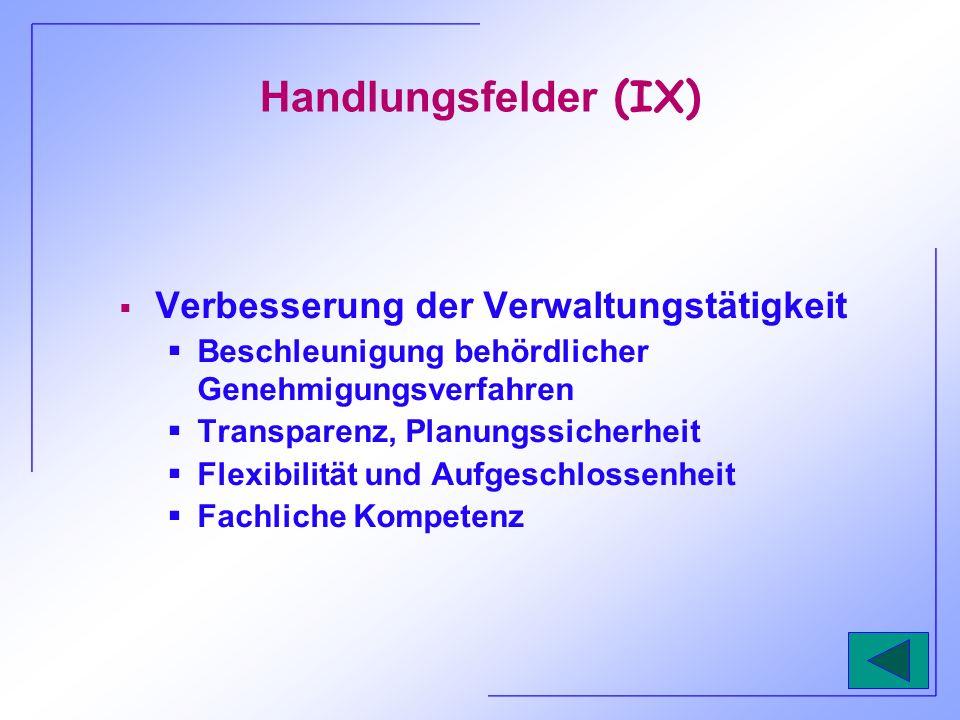 Handlungsfelder (IX) Verbesserung der Verwaltungstätigkeit