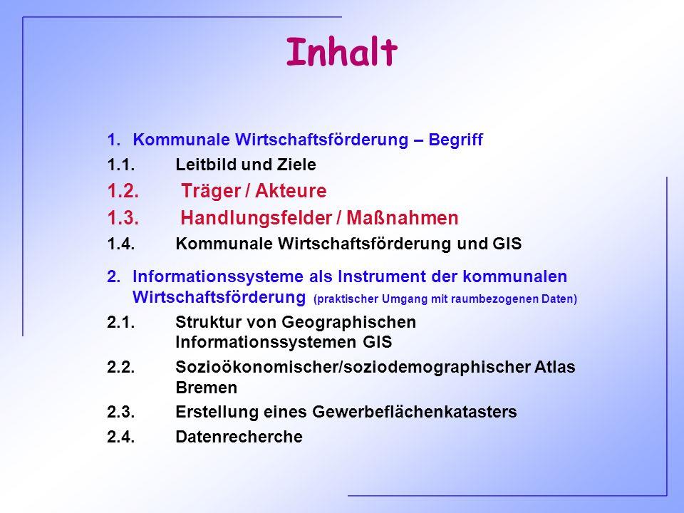 Inhalt 1.2. Träger / Akteure 1.3. Handlungsfelder / Maßnahmen